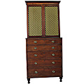 Mahogany Irish Secretaire Bookcase with green silk doors